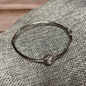 "Kate Spade ""Knotted Rope"" Silver Hinged Bangle"